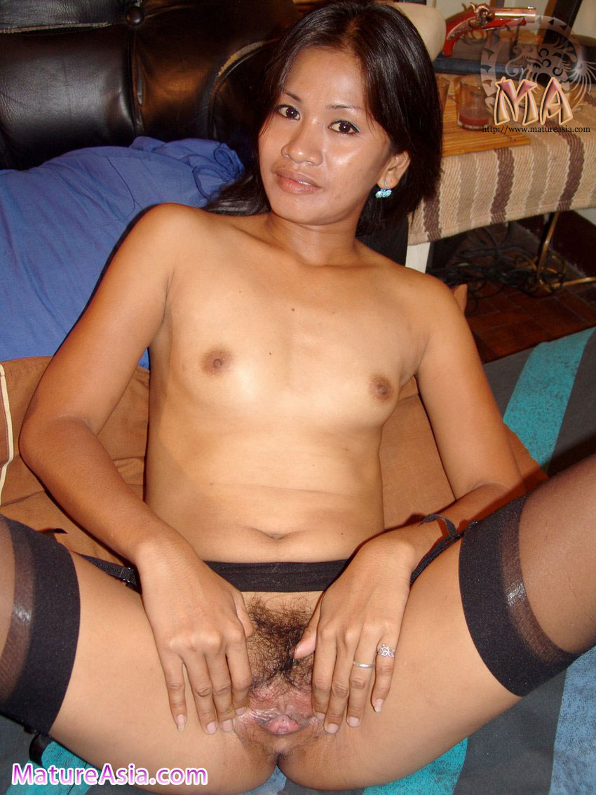 Asian Milf thin and sexy asian milf wearing black stockings   cloudy